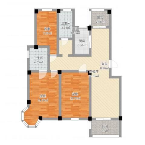 七彩云山3室2厅2卫1厨101.00㎡户型图