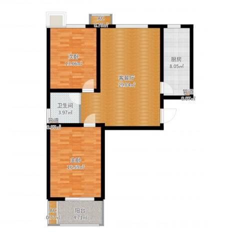 石门福地2室2厅1卫1厨97.00㎡户型图