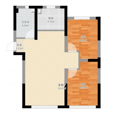 万龙台北明珠2室2厅1卫1厨68.00㎡户型图