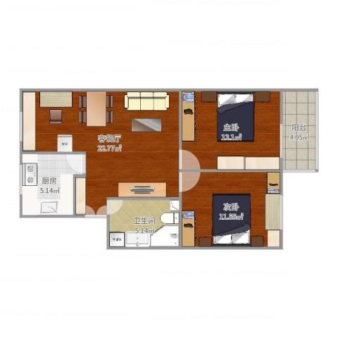 永定路57号院2室2厅1卫1厨76.00㎡户型图