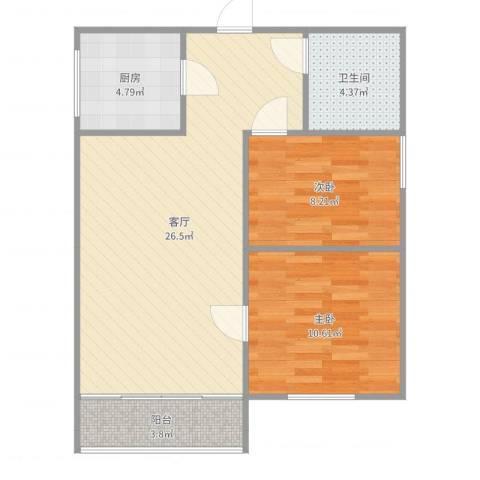 府邸美郡2室1厅1卫1厨73.00㎡户型图