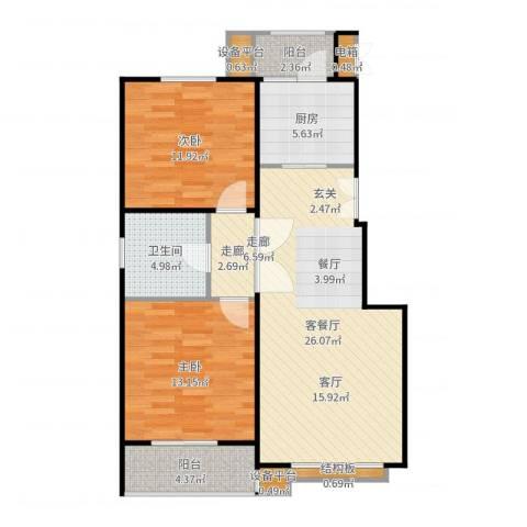 名爵·滨河花园2室2厅1卫1厨92.00㎡户型图