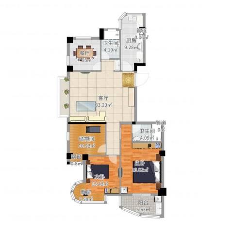 利玛・国际锦苑2室2厅2卫1厨134.00㎡户型图