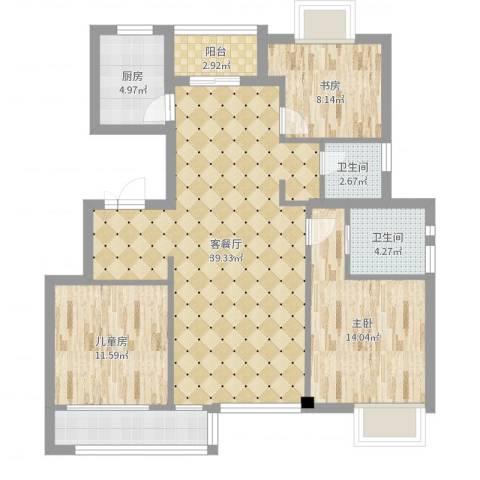 银河湾小区3室2厅2卫1厨116.00㎡户型图