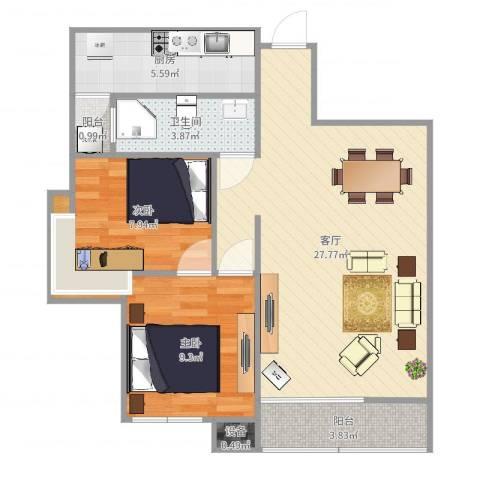 军安卫士花园2室1厅1卫1厨77.00㎡户型图