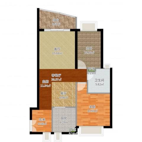 东山紫园2室2厅1卫1厨103.00㎡户型图
