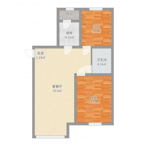 乐活・两岸568庄园2室2厅1卫1厨85.00㎡户型图