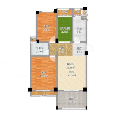 锦绣龙城八期鎏园2室2厅1卫1厨99.00㎡户型图