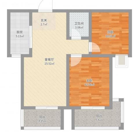 泰安・民生景园2室2厅1卫1厨83.00㎡户型图