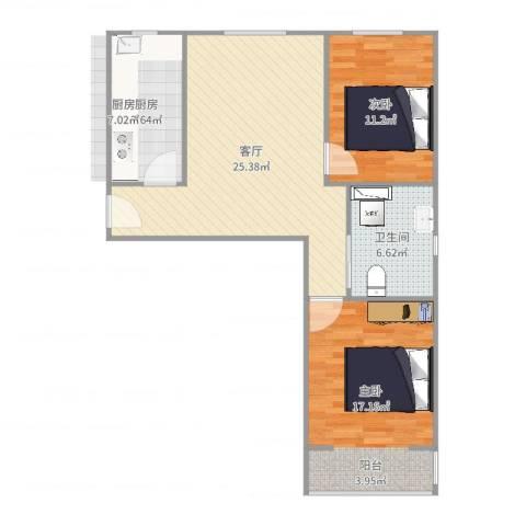 丽泽景园2室1厅1卫1厨85.00㎡户型图