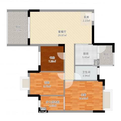 福安楼(宝安)3室2厅1卫1厨108.00㎡户型图