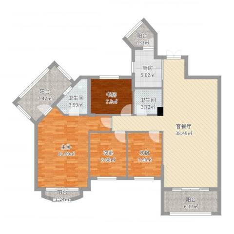 建华花园4室2厅2卫1厨143.00㎡户型图
