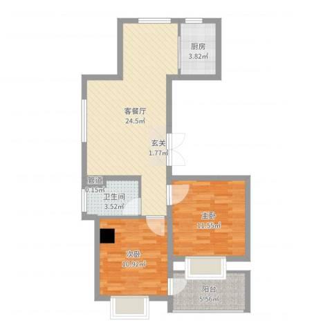 瑞都中央花园2室2厅1卫1厨75.00㎡户型图