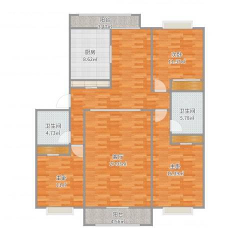 名人国际3室1厅2卫1厨150.00㎡户型图
