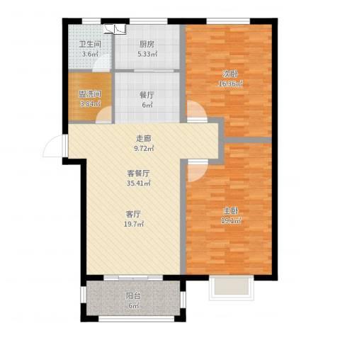 玉泉华庭2室2厅1卫1厨112.00㎡户型图