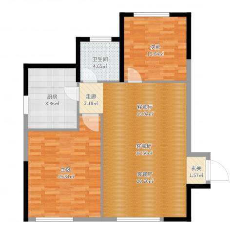 泓泰国际2室2厅1卫1厨104.00㎡户型图