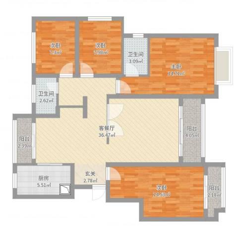 绿地泰晤士新城4室2厅2卫1厨126.00㎡户型图