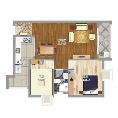 美丽3652室2厅1卫1厨80.00㎡户型图