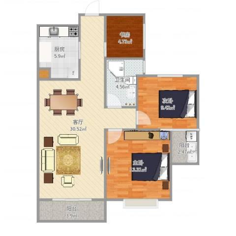 滨江一号3室1厅1卫1厨94.00㎡户型图