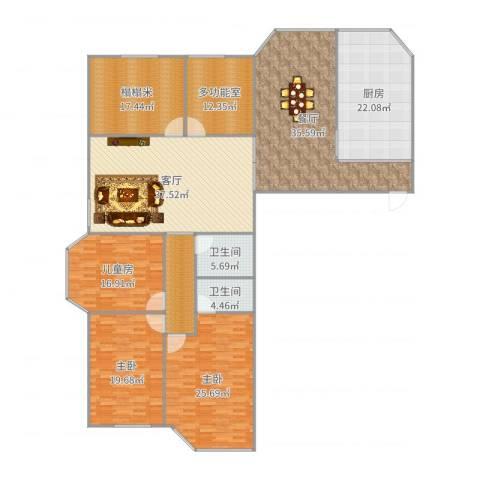 恒元公寓3室2厅2卫1厨204.19㎡户型图