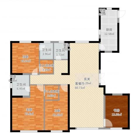 中庚当代艺术4室2厅3卫1厨202.00㎡户型图