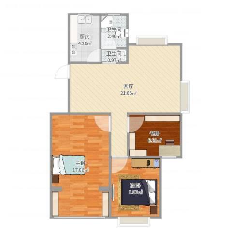 星光名庭3室1厅2卫1厨79.00㎡户型图