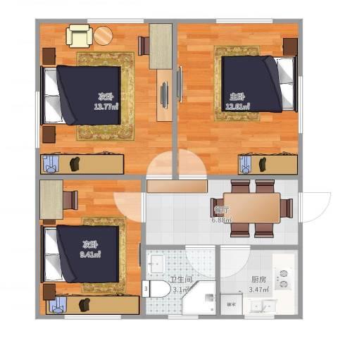 师大新村(奉贤)3室1厅1卫1厨62.00㎡户型图