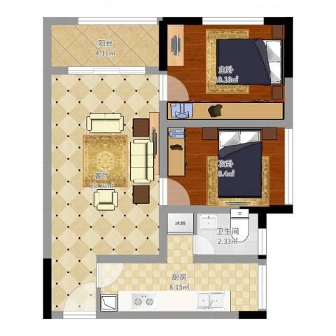 商社时代峰汇地块2室1厅1卫1厨67.00㎡户型图