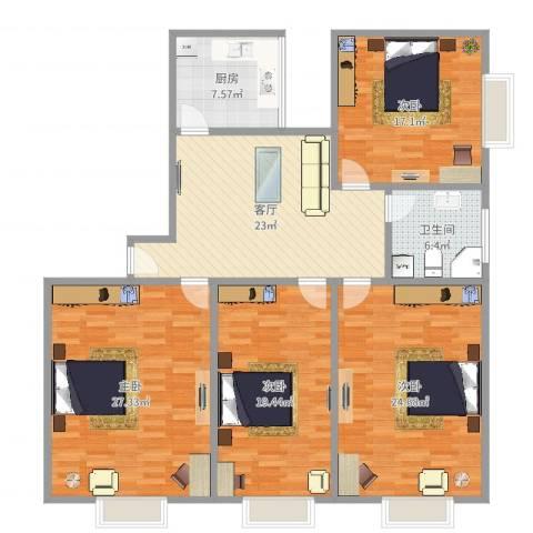 长寿大厦公寓4室1厅1卫1厨157.00㎡户型图