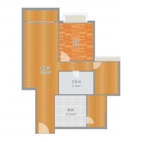 朗晴名门1室2厅1卫1厨128.00㎡户型图