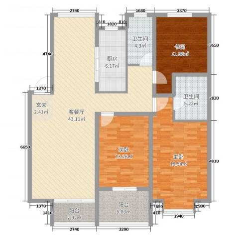 宏运・凤凰新城二期3室2厅2卫1厨126.00㎡户型图