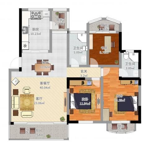 银河湾紫苑3室2厅2卫1厨138.00㎡户型图