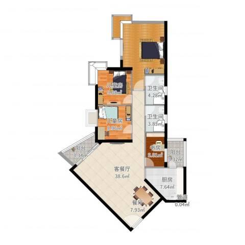 雍华庭四期3室2厅2卫1厨129.00㎡户型图