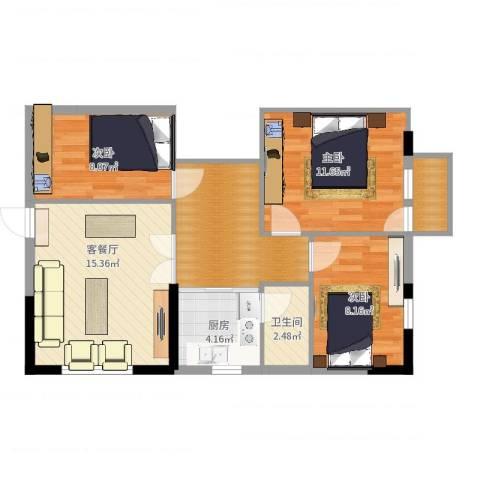 同乐花园3室2厅1卫1厨76.00㎡户型图