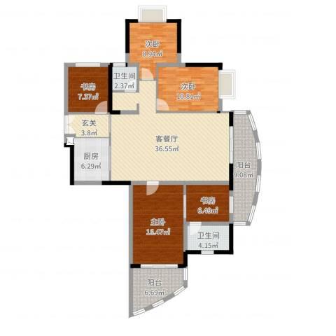 芳邻雅居5室2厅2卫1厨149.00㎡户型图