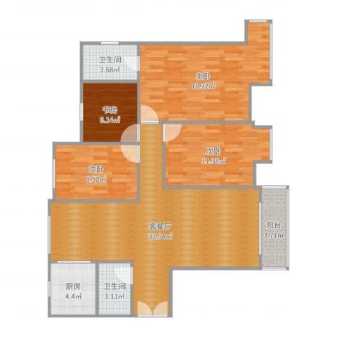 东湖湾c1-2-东户4室2厅2卫1厨116.00㎡户型图