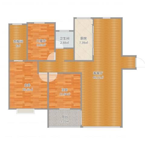 吾悦国际广场3室2厅1卫1厨131.00㎡户型图