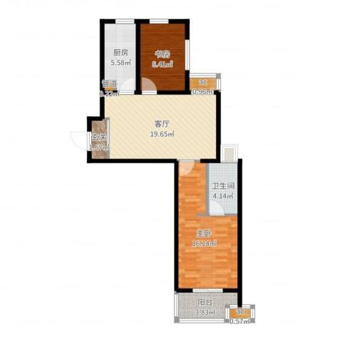 东外滩1号2室1厅1卫1厨76.00㎡户型图