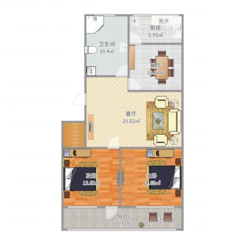七里堡小区2室2厅1卫1厨115.00㎡户型图