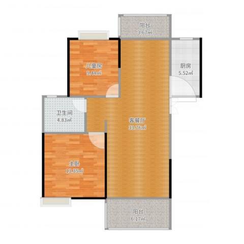 世纪城龙兴苑2室2厅1卫1厨96.00㎡户型图
