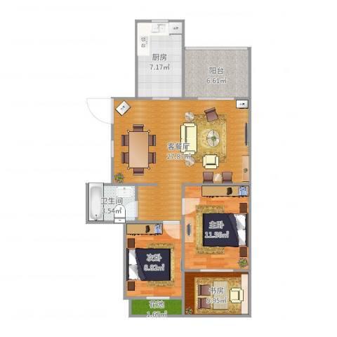 航宇・长江国际3室2厅1卫1厨91.00㎡户型图