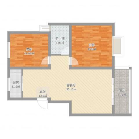 君悦国际花园2室2厅1卫1厨94.00㎡户型图
