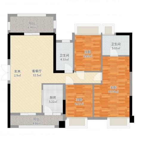 胜球阳光花园3室2厅2卫1厨117.00㎡户型图