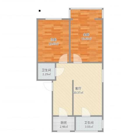 新源里西4号楼2室1厅2卫1厨66.00㎡户型图