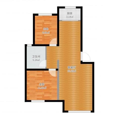 李法雄绿城・百合公寓2室2厅1卫1厨76.00㎡户型图