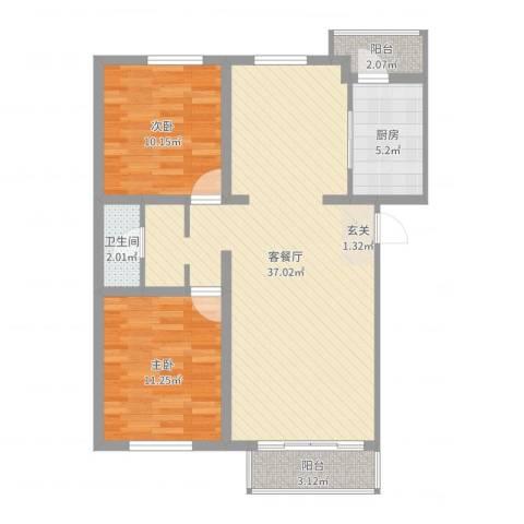 健康阳光城2室2厅1卫1厨89.00㎡户型图