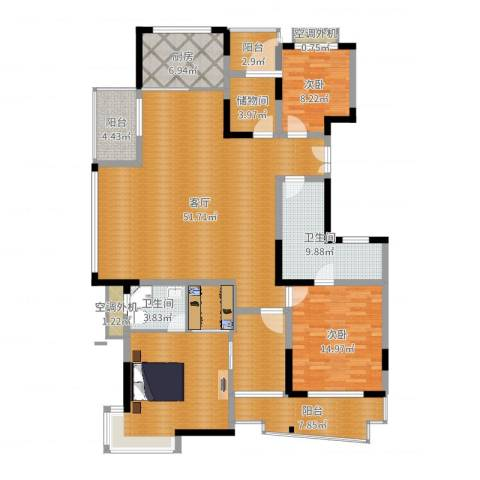 下沙文汇苑2室1厅2卫1厨175.00㎡户型图