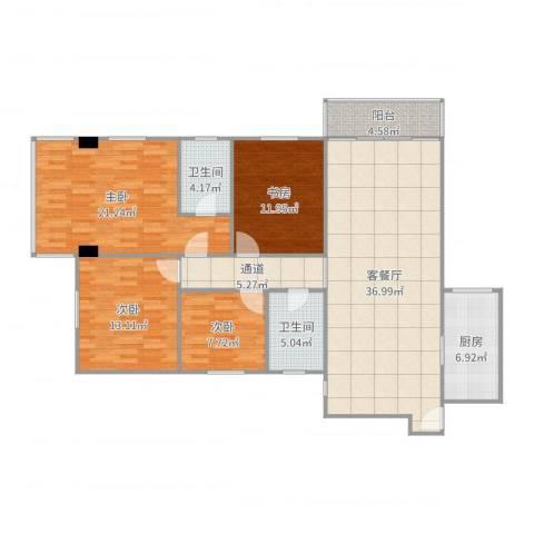 吉大豪苑4室2厅2卫1厨161.00㎡户型图