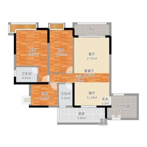 富力城时光里3室2厅2卫1厨143.00㎡户型图