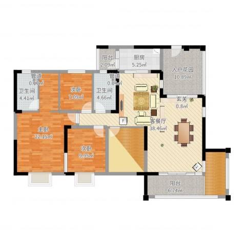 南桂园江临世家3室2厅2卫1厨158.00㎡户型图
